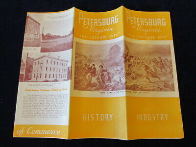 Vintage 1940's Petersburg Virginia Travel Tourist Brochure Guide w/Map VA Q151