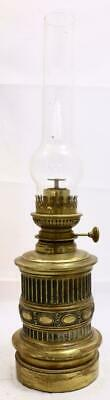 Lovely French Embossed Antique Brass Oil Lamp - Lovely Quality