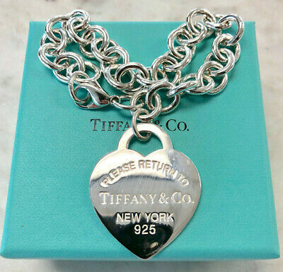 Authentic Tiffany & Co Sterling Silver Heart Return to New York Bracelet 925