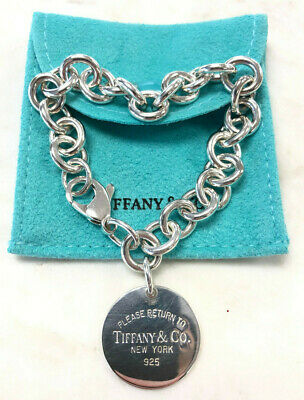 Authentic Tiffany & Co Sterling Silver Round Return to New York Bracelet 925