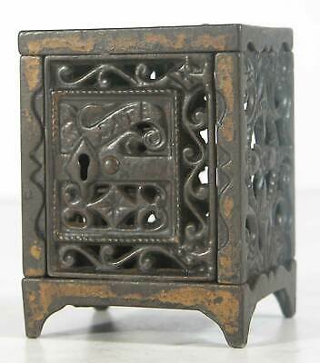 1888 CAST IRON RETICULATED FLOOR SAFE FIGURAL STILL BANK - SAFE By J. E. STEVENS