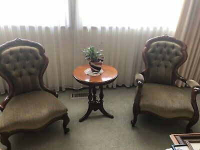 Antique Victorian Pair Grandfather Grandmother Mahogany Boudoir Parlour Chairs
