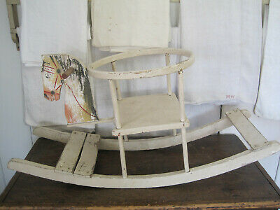 Old Primitive Great Old Paint Child's Wood Rocking Horse German AAFA