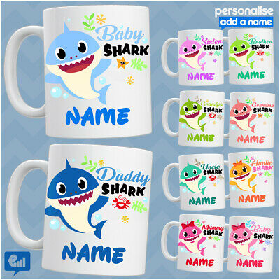 BABY Shark Doo Doo PERSONALISED MUG Cute Tea Cup Mummy Daddy Novelty Kids Gift