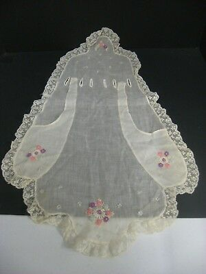 Antique 1800s Victorian Embroidered Child's Apron w/ Handmade lace  & Flowers