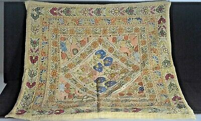 Antique Ottoman Square Textile Silk Embroidered Uu301