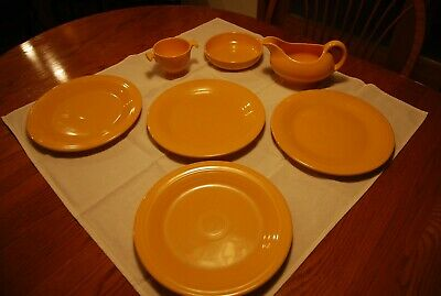 """Vintage Fiesta Ware Homer Laughlin Yellow Dinner Plates. 10 1/4"""". and MORE."""