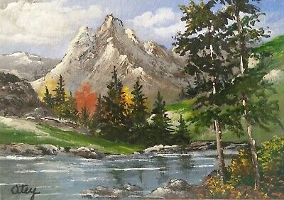 Aceo, acrylic, landscape, original, collectible, Rocky Mountain View by D Otey