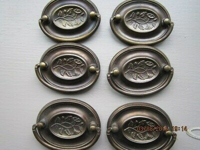 6 Ornate Oval Metal Drawer Pulls With Flower Center
