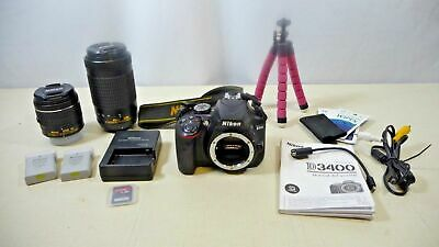 Nikon D3400 Digital SLR Camera AF-P DX 18-55mm and 70-300 with Accessories
