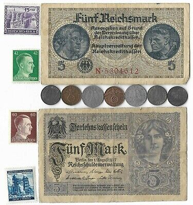 WWI Mark WWII Germany Note Stamp Coin Collection Rare Old War Big Vintage Lot WI
