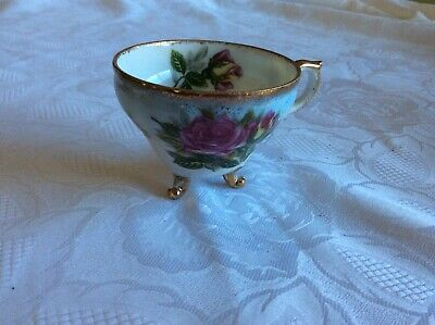 Vintage Porcelain Hand Painted Floral Footed Tea Cup