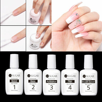 UR SUGAR 15ml Nail Dipping Powder Liquid Dip System 5 Step Top Base No Lamp Need