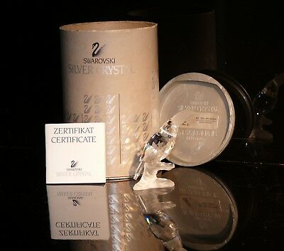 Swarovski Reduced  Retired Rare Silver Crystal Toucan On A Branch Box + Cert.