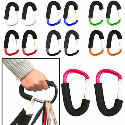 4X Buggy Clips Coloured Large Pram Pushchair Shopping Bag Hook Mummy Carry Clips