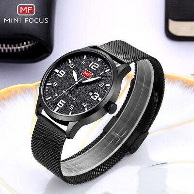 Mens Minimalist Ultra-Thin Analog Waterproof Dress Stainless Steel Wrist Watch