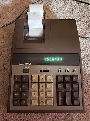 Vintage Sears PD-12 Calculator Adding Machine Two Color Ink