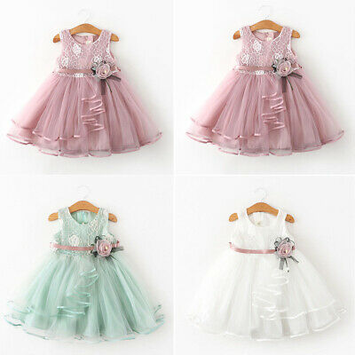 UK Summer Toddler Baby Girls Sleeveless Clothes Lace Dress Flower Party Dresses
