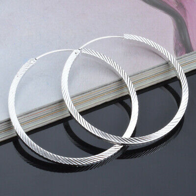 Womens 925 Sterling Silver Twill Design 40mm Round Hoop Vogue Earrings #E317