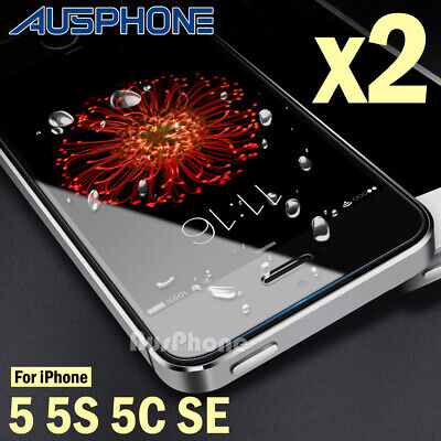 2 x iPhone 5S 5C SE Tempered Glass Screen Protector Guard Touch Sensitive Clear