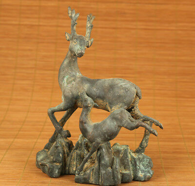 Big Rare Chinese Bronze hand carving deer statue collectable ornament