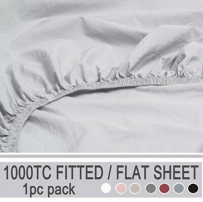 Plain Color Bed Sheet Black White Fitted Flat Sheet - King Single / Queen / King