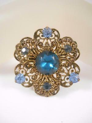 Ornate Vintage Blue Rhinestone Antiqued Gold Tone Filigree Brooch Pin s560
