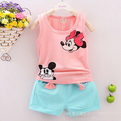 Baby Girls Cartoon Clothes Summer Top Vest +Short Pants Kid Outfits Cotton Cute