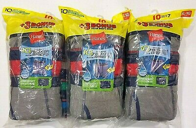 3 LOT Boys Hanes Tagless Boxer Briefs, 10 Pack, 30 Total,  Size XL (18-20)