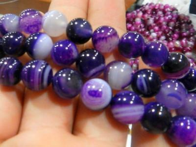 8mm Purple Striped Agate Gemstone Round Loose Bead 15''