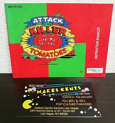 1992 Attack of the Killer Tomatoes Nintendo NES Manual Booklet Only MINTY CLEAN
