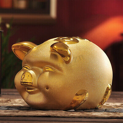 Gold Chinese Happiness Pig Piggy Bank Zodiac 2019 year Mascot Home Decor