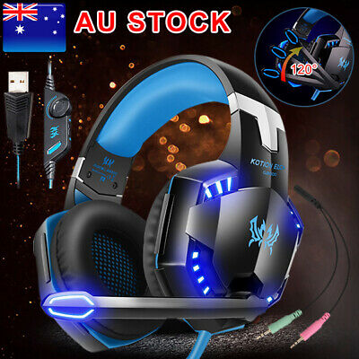AU LED Gaming Headset Surround MIC Headphones for PC Laptop PS4 Xbox One BZ