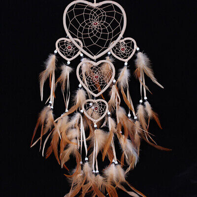 Large Heart Wall Hanging Dream Catcher With Feather Home Car Decor Brown