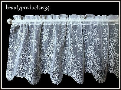 "HERITAGE LACE White FLORET Valance New in Pkg. 60"" x 16"" Made USA LACE~"