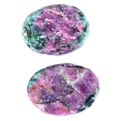 13.55Cts 100% Natural Designer Ruby In Zoisite Druzy Oval Pair Cabochon Gemstone