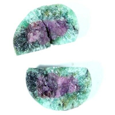 8.60Cts 100% Natural Designer Ruby In Zoisite Druzy Fancy Pair Cabochon Gemstone