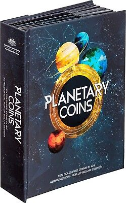 2017 PLANETS OF THE SOLAR SYSTEM 10 COIN SET WITH PLANETARY BOOK - Free Postage