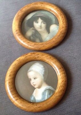 Pair Of rare Antique Circular Light Elm Wooden miniature Portrait Frames.