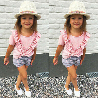 Sweet Toddler Kids Baby Girls Outfits Clothes T-shirt Tops+Short Pants 2PCS Set