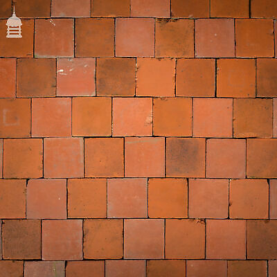 """Batch of 296 Reclaimed Red 4""""x4"""" Quarry Tiles – 3 Square Metres"""