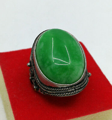 Free shipping-Chinese retro (Tibetan silver) Malay jade ring size;10#