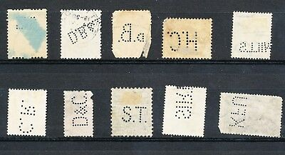 10 Perfins from Europe - Netherlands, Italy, Hungary, Ireland (Lot45)