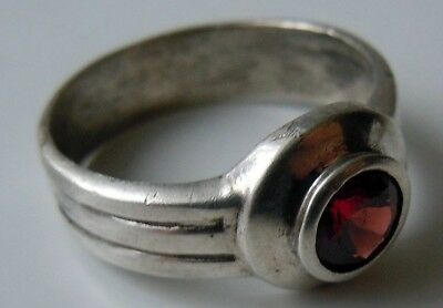 FABERGE Antique Imperial RUSSIAN Ring with Garnet Stone, 84 silver.