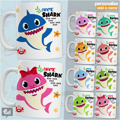 Baby Shark Doo Doo MUG Personalised ANY NAME Cute Tea Cup Novelty Kids Gift