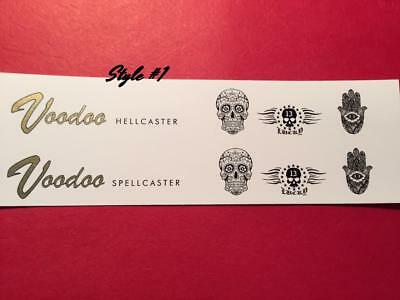 Voodoo Metallic Gold or Silver Guitar Waterslide Decals 7 Styles Choice