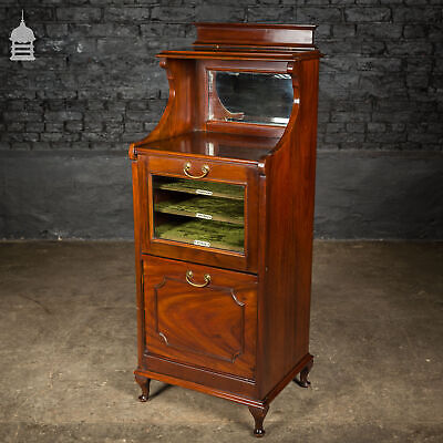Edwardian Drop Front Glazed Mahogany Music Cabinet with Mirror