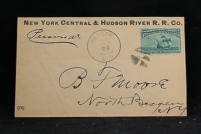 New York: Bergen 1893 #232 NY Central & Hudson River Railroad Cover