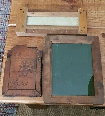 3 Vintage Photographic Plate Frames Wooden