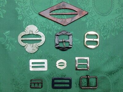 Art Deco Belt Buckles Early Plastic Mother of Pearl etc Paris Vintage Clothing